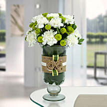 White Carnations Arrangement: Teachers Day Flowers