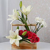 White N Pink Floral Wooden Arrangement: Send Lilies