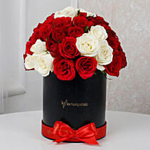 White & Red Roses Box Arrangement: Girlfriends Day Gifts