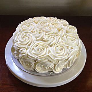 White Rose Cake: Bhai-Dooj Gifts Hyderabad