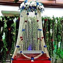 White Sparkling Flower Tower Decoration: Flowers for Janmashtami