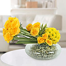 Yellow Roses N Daisies Arrangement: Boss Day Gifts