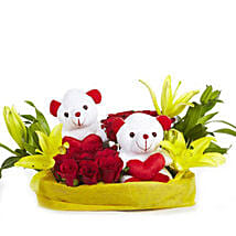 You & Me- Teddy Bear with Roses & Lilies: Flowers & Teddy Bears Hyderabad