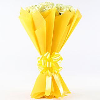 Zesty Yellow Carnations Bouquet: Karwa Chauth Flowers