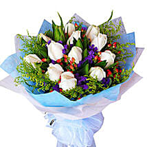 Flawless White Bouquet: Sympathy Flowers to Malaysia