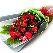 Red Roses with Foliage: Send Gifts to Johor Bahru