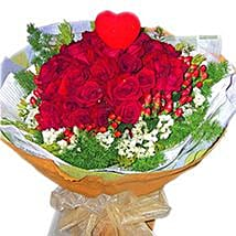 Roses with Foliage N Heart: Send Gifts to Johor Bahru