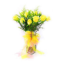 Yellow Roses in Glass Vase