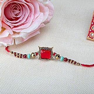 Square Pink Rakhi: Send Rakhi to Morocco