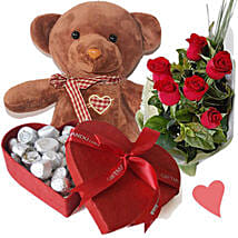 Dark Brown Teddy Bear Chocolates Box and Roses: Gifts to Nepal