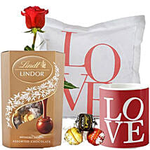 Lindt Chocolate with Love Cushion Mug and Rose: Gifts to Nepal