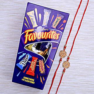Aum Two Rakhi Set With Cadburys Favourite Chocolate: Rakhi to New Zealand