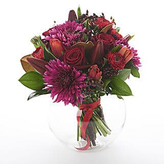 Dark Red Posy: Flower Arrangements in New Zealand