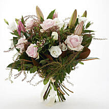 Fresh Roses N Lilies Bouquet: Lilies to New Zealand