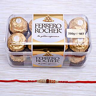 Rudraksh Rakhi With Ferrero Rocher Chocolate: Send Rakhi to New Zealand