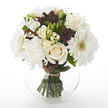 White N Green Posy: Get Well Soon Gifts to New Zealand