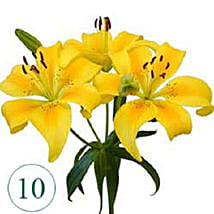 10 Blooms of Yellow Lilies QAT: Get Well Soon Gifts to Qatar