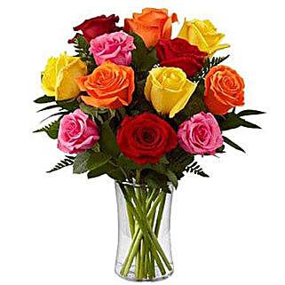 Dozen Mix Roses In A Glass: Flowers to Saudi Arabia
