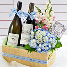 Wine and Floral Gift Basket