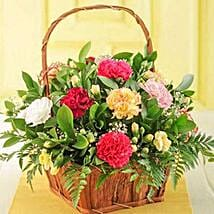 Mixed Carnations in a Basket: Birthday Gift Delivery in South Africa