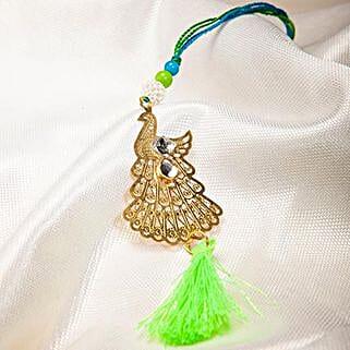 Attractive Metallic Peacock Lumba Rakhi: Send Rakhi to Thailand