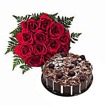 1 Dozen Roses with Cake: Romantic Gift Delivery in Dubai