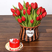 Blissful Red Tulips Basket and Cake: Send Flowers and Cakes to UAE