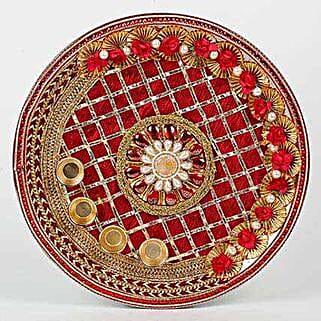 Decorative Karwa Chauth Maroon Steel Thali: Karwa Chauth Gifts to UAE