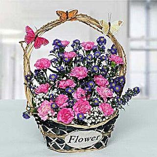 Deightful Carnations N Blue Aster Flower Basket: Wedding Gifts to UAE
