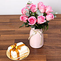 Delicate Pink Roses and Mono Cake: Flower and Cake Delivery in UAE