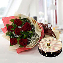 Enchanting Rose Bouquet With Marble Cake: Birthday Flowers and Cakes in UAE