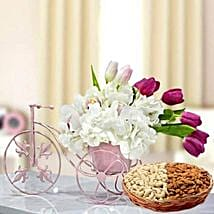 Floral Cycle Arrangement and Dry Fruits Combo: Mother's Day Flower and Dry Fruits to UAE