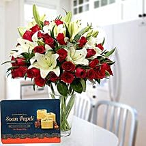 Floral Vase Arrangement and Soan Papdi Combo: Mother's Day Flower and Sweets to UAE