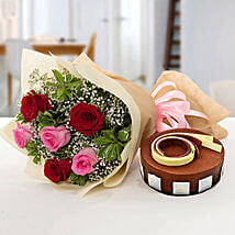 Gorgeous Roses Bouquet With Triple Chocolate Cake: Mother's Day Gift Delivery in UAE