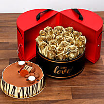 Grand Box Of Golden Roses and Cake: Send Birthday Gifts to UAE