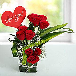 I LOVE YOU Flower Arrangement: Valentine's Day Flowers to Sharjah