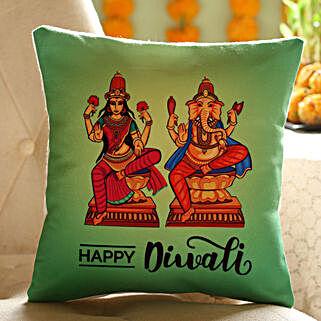 Laxmi Ganesha Printed Diwali Cushion: Send Diwali Gifts to UAE