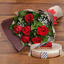 Magnificent Rose Bouquet With Triple Chocolate Cake: Valentine Flowers N Cakes to UAE