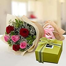 Mixed Roses Bouquet and Patchi Chocolate Combo: Send Chocolates to UAE