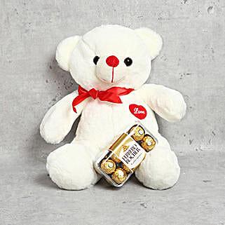 Off White Teddy Bear and Ferrero Rocher Chocolate Box: Send Soft Toys to UAE