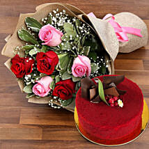 Pink and Red Roses with Red Velvet Cake: Send Flowers and Cakes to UAE