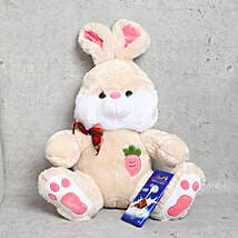Rabbit Soft Toy with Lindt Milk Chocolate Bar: Soft Toys to UAE