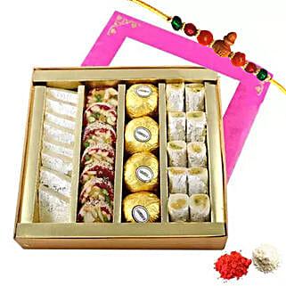 Rakhi with Mixed Sweets Box: Send Rakhi to UAE