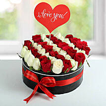 White N Red Roses Love Proposal Arrangement: Send Anniversary Flowers to UAE