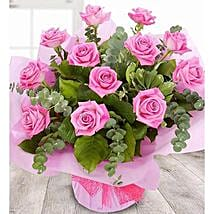 A Dozen Pale Pink Roses: Send Valentine Day Gifts to UK