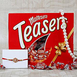 Aum Rakhi Maltesers Chocolate Hamper: Send Rakhi With Chocolates to UK