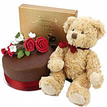 Chocolate Rose Cake With Bear And Lindt: Cake Delivery UK