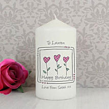 Personalized 3 Hearts Message Candle: