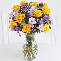 Rose n Freesia Bouquet: Send Flowers to UK