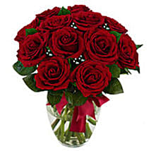 12 stem Red Rose Bouquet: Valentine's Day Gifts to USA